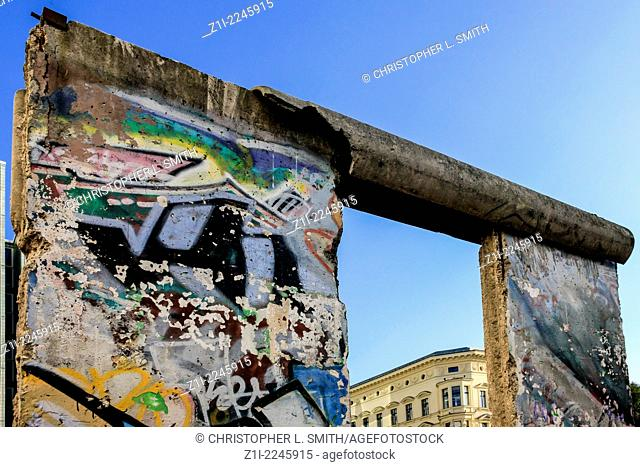 A piece of the graffitti covered Berlin wall on display near Checkpoint Charlie