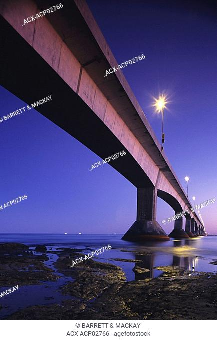 Confederation Bridge at night, Borden Carleton, Prince Edward Island, Canada