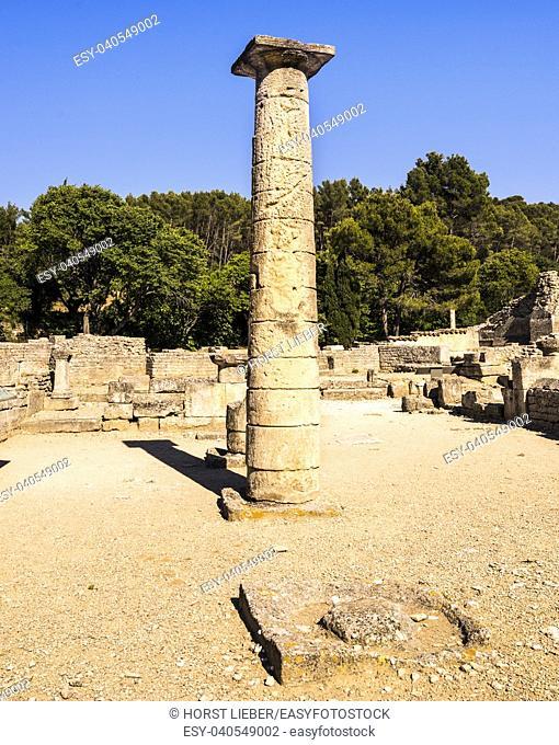 A column at the antique market in Glanum. Saint Remy de Provence, Bouches du Rhone, Provence, France