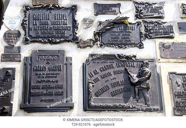 Tomb of Carlos Gardel, La Chacarita cemetery. Buenos Aires, Argentina