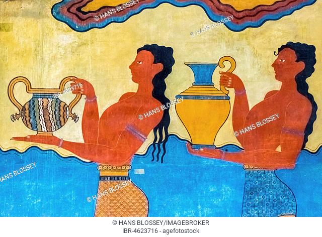 Procession, frescoes, reconstruction of Arthur Evans, Southern Propylaeum of Knossos, Minoan excavation site, parts of the Minoan temple complex of Knossos