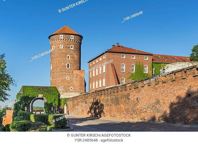 Brama Bernardynska gate and the Baszta Sandomierska Tower on the East side of the Wawel. The Wawel Castle is the former residence of Polish kings in Krakow and...