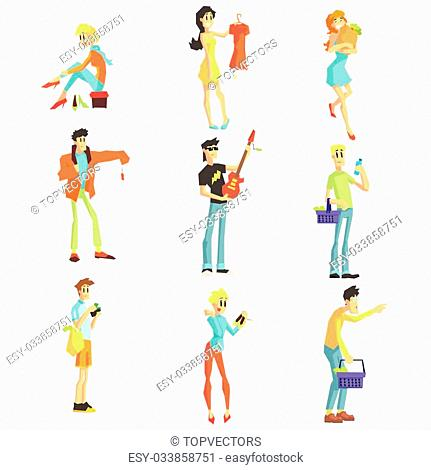 Men And Women Shopping Collection Of Funny Isolated Illustrations In Simple Geometric Style