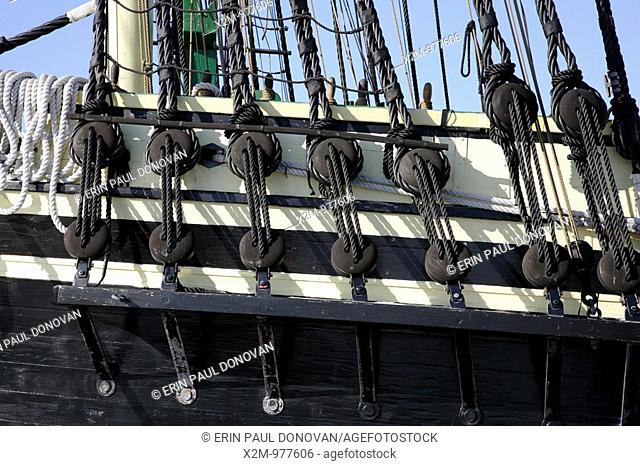The Friendship of Salem Tall Ship, which is a replica of a 1797 East Indiaman ship  Located at Salem Maritime National Historic Site