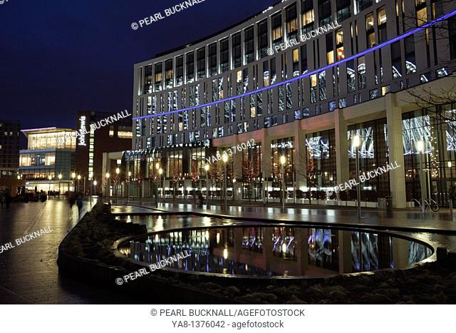 Liverpool, Merseyside, England, UK, Europe  Night scene with the Hilton Hotel and John Lewis store in Liverpool One