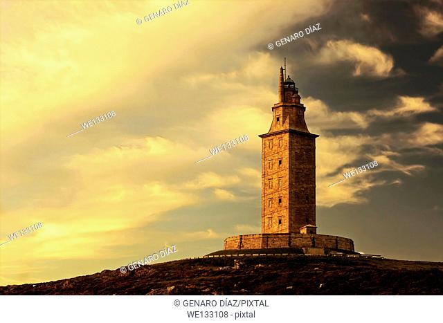 Tower of Hercules, World Heritage Site, roman lighthouse, La Corunna, Galicia, Spain