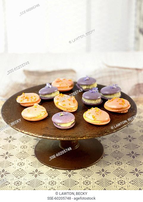 Lavander and mandarin orange macaroons