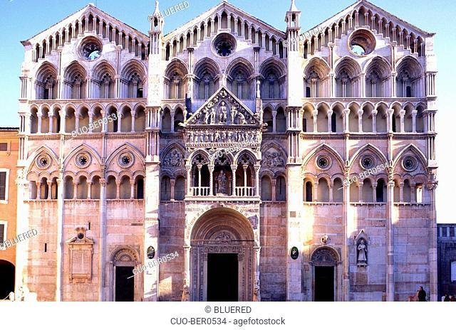 Exterior of the cathedral, Ferrara, Emilia-Romagna, Italy