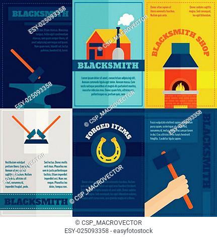 Blacksmith shop flat icons set