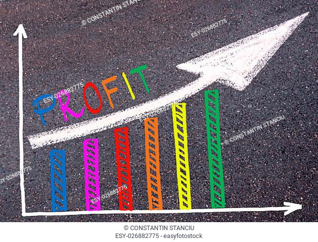 Colorful graph drawn over tarmac and word PROFIT with directional arrow, business design concept