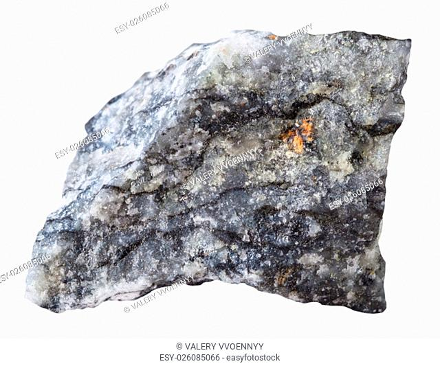 macro shooting of specimen natural rock - piece of stibnite (antimonite) mineral stone isolated on white background