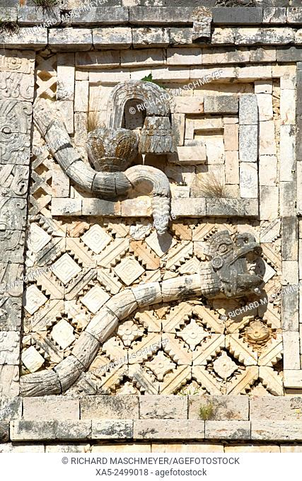 Frieze, Nuns' Quadrangle, Uxmal Mayan Archaeological site, Yucatan, Mexico