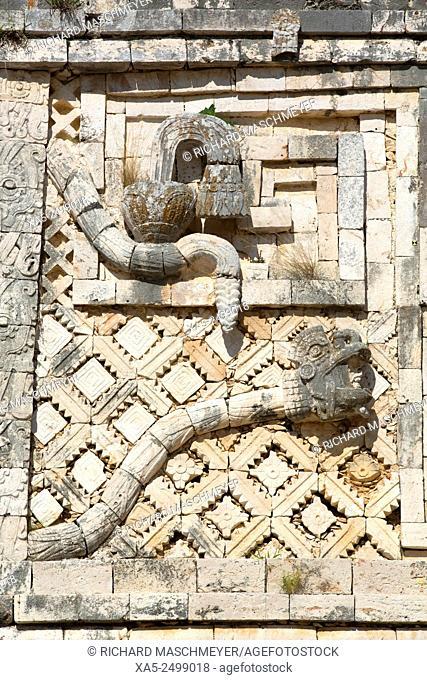 Frieze, Nuns' Quadrangle, Uxmal Mayan Archaeological site, Yucatan, Mexico
