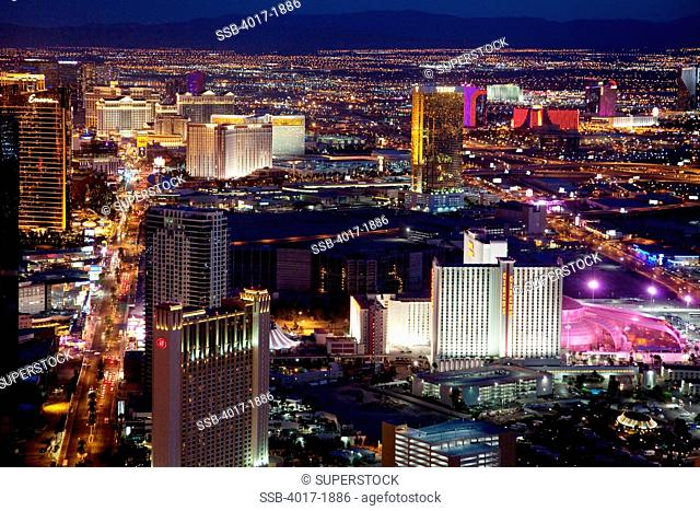 Las Vegas Strip Skyline at night with the boulevard on left and Interstate 15 on right