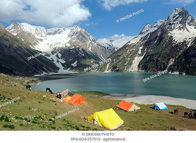 tent sheshnag lake, amarnath yatra, Jammu Kashmir, India, Asia