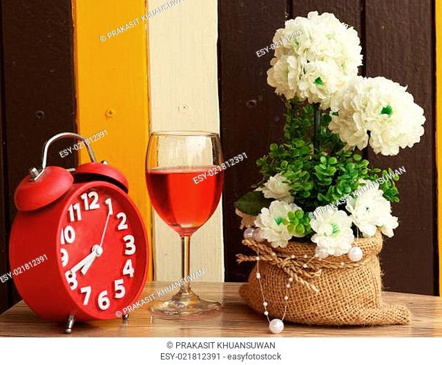 wine glass with flower