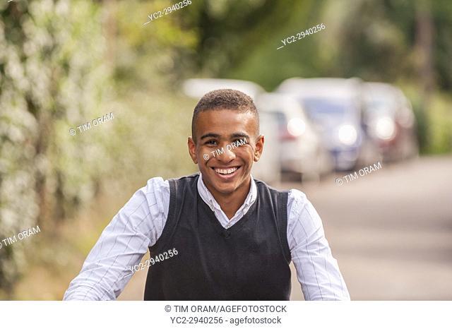 A teenage boy of 17 on his bike in the Uk