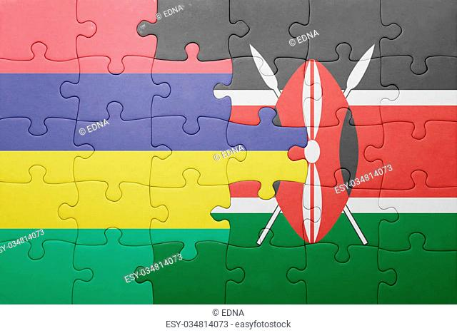puzzle with the national flag of kenya and mauritius. concept