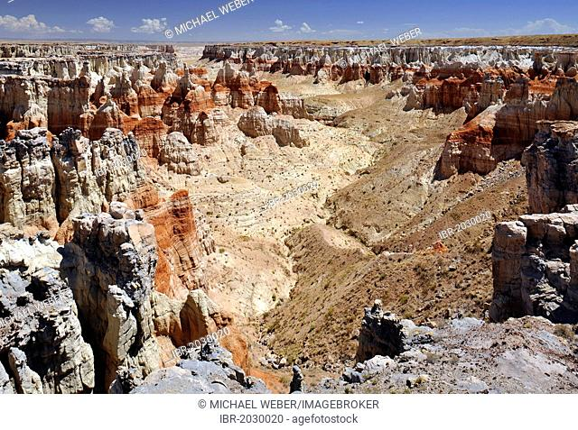 Eroded hoodoos and rock formations in the Coal Mine Canyon, coloured by minerals, Coal Mine Mesa, Painted Desert, Hopi Reservation, Navajo Nation Reservation
