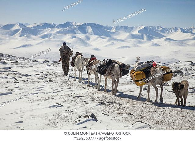 Tsataan cross pass that leads into Hunkher mountains, spring reindeer round-up, northern Mongolia