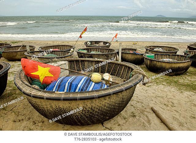 Bamboo basket boats, An Bang Beach, Hoi An, Vietnam