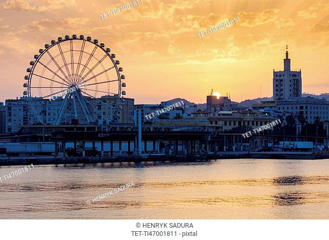 Spain, Andalusia, Malaga, Townscape at sunset