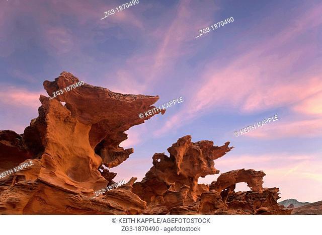 Sunset at Devils Fire, Strange eroded sandstone rock formations in the desert south west, Nevada, USA
