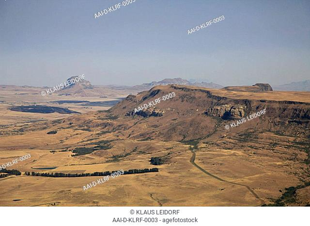 Aerial photograph of the Intabazwe mountain and the Rensburgskop, Freestate, South Africa