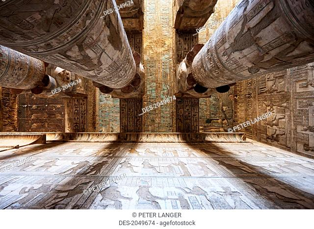 Columns With Hathor Capitals In The Outer Hypostyle Hall Of The Temple Of Hathor, Dendera, Qina, Egypt