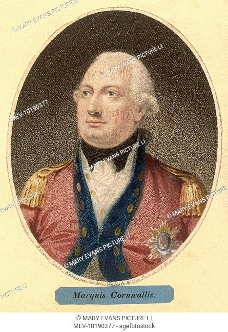 CHARLES, FIRST MARQUESS CORNWALLIS English Military Commander and colonial governor. British General in the American Revolutionary War