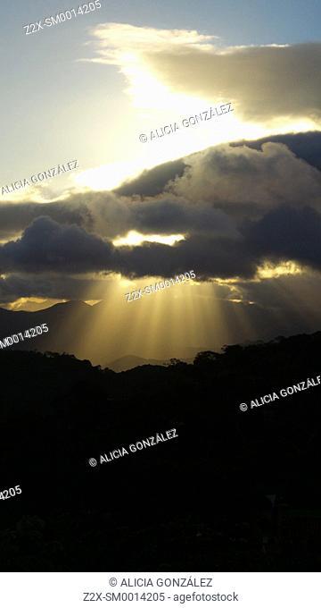 Sun rays emerged in magic view in Paracotos, Estado Miranda,Venezuela