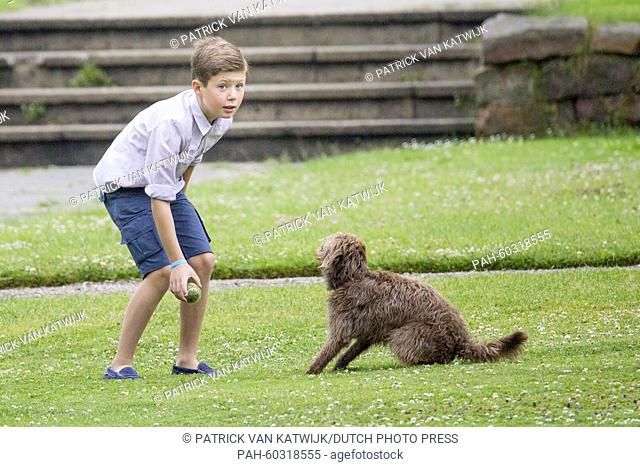 Danish Prince Christian during a photo session during their summer holidays at Grasten Slot, Denmark, 25 July 2015. Photo: Patrick van Katwijk / NETHERLANDS OUT...