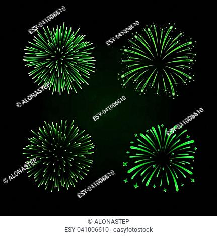 Beautiful green fireworks set. Bright fireworks isolated black background. Light green decoration fireworks for Christmas, New Year celebration