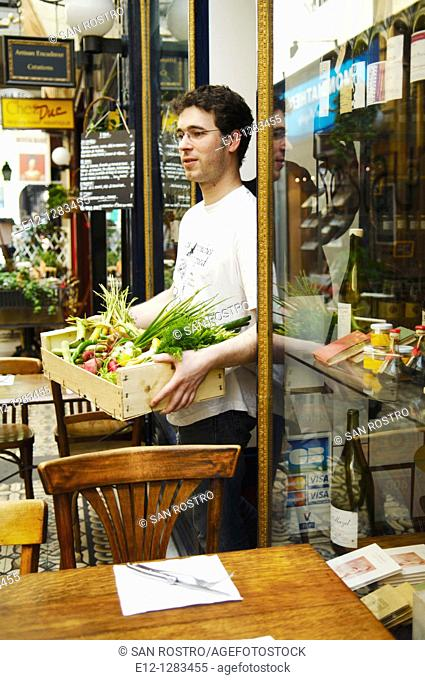 Vegetables from Alain Passard's garden -three star michelin chef- at Racines restaurant of Pierre Jancou, Paris, France