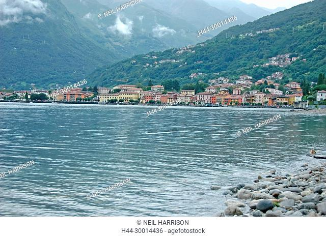 the village of Gravedona on the shores of Lake Como, nothern Italy, on a rainy day