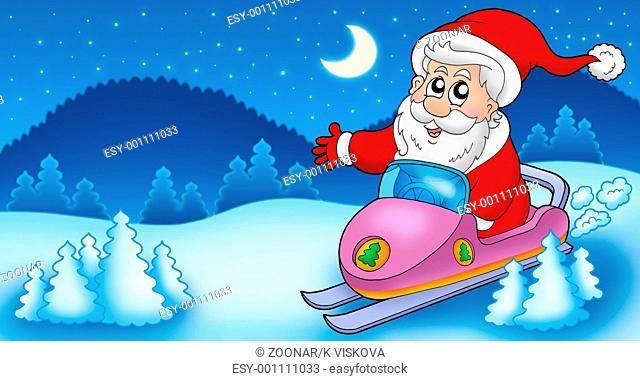 Landscape with Santa Claus on scooter - color illustration