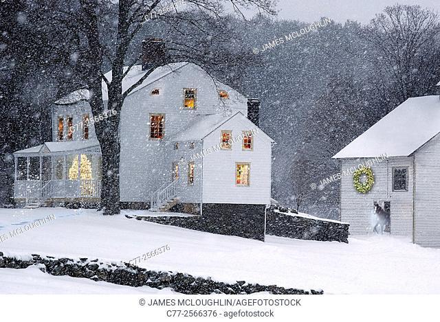 Landscape, Farm scene, Christmas, winter, snow