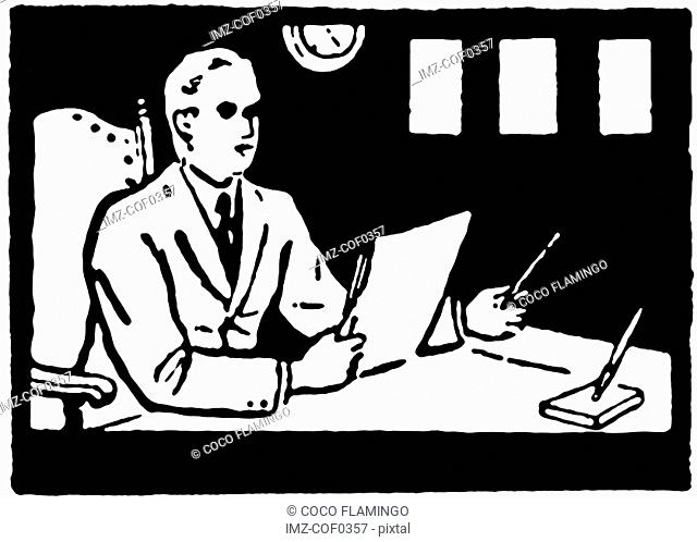 A black and white version of an illustration of a man working at his desk
