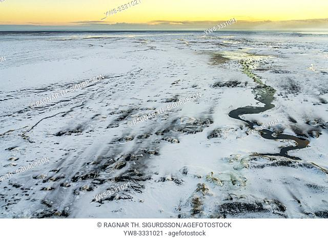 Winter, crooked river, Medallandssandur, South Coast, Iceland