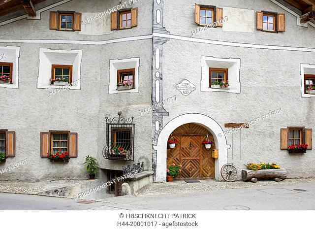 Old traditional stone house in Bergün, Grisons, Switzerland