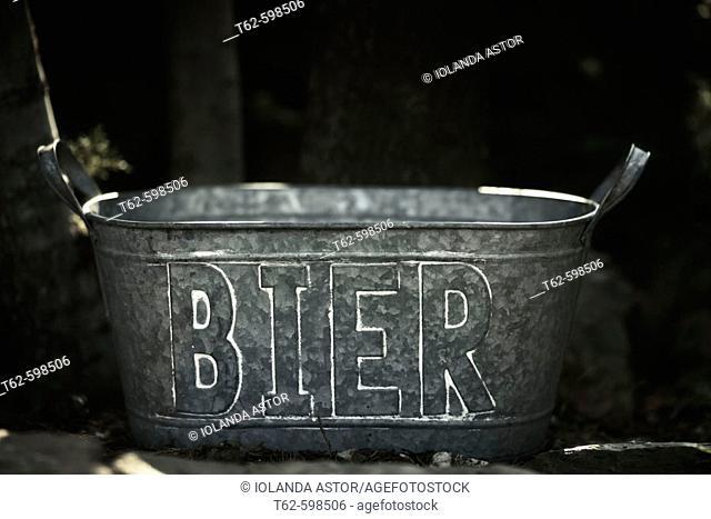 Beer bucket in a courtyard