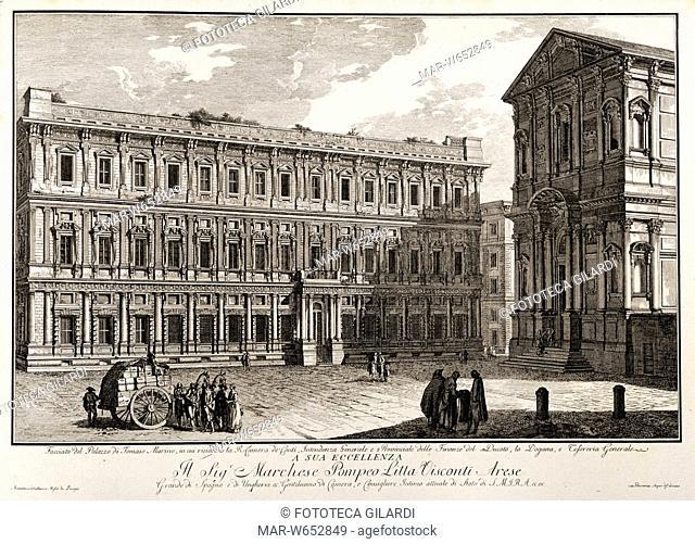 MILANO Palazzo Marino, incisione su rame di Domenico Aspari (1745 - 1831) , da serie di vedute 1788 - 1792,Copyright © Fototeca Gilardi