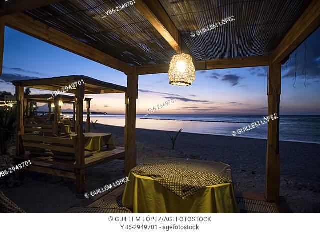 Restaurant by one of the beaches in Gili Air, Gili Island, Indonesia