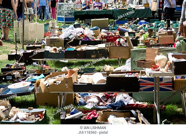Close Up Of Stalls At Outdoor Secondhand Flea Market