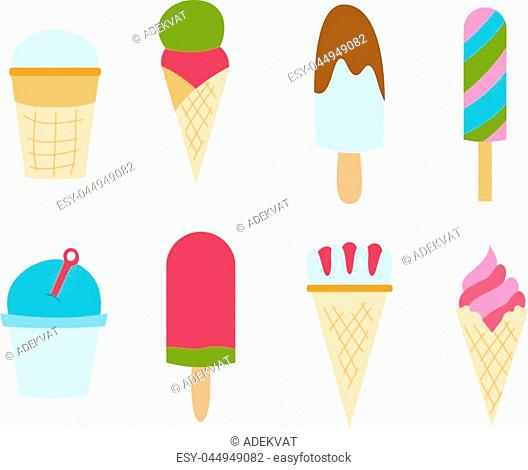 Sweet cartoon cold ice cream set and tasty cartoon frozen ice cream collection vector delicious. Set of ice cartoon colorful ice-cream desserts