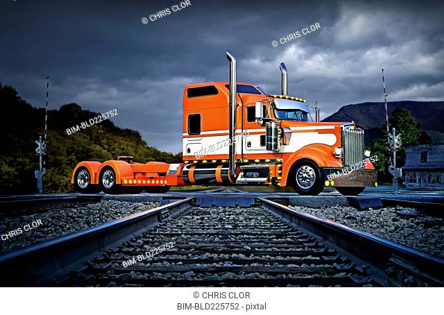 Semi-truck crossing railroad track