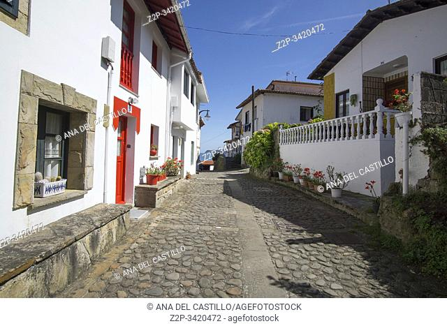 Tazones Asturias Spain on September 7, 2019: A view of the village of Tazones in Asturias one of the most beautiful villages in Spain