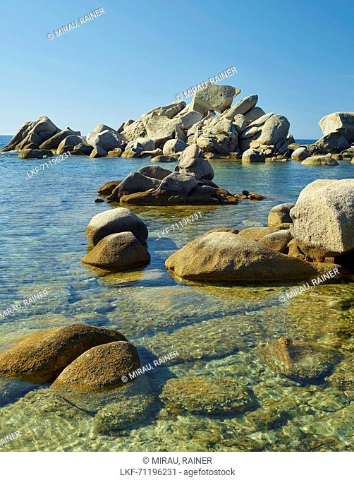 rock on the rocks at the Plage Palombaggia Palombaggia plague, Corsica, France