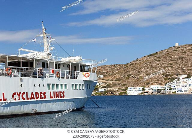 Ferry boat for small Cyclades islands at the port Katapola, Amorgos, Cyclades Islands, Greek Islands, Greece, Europe