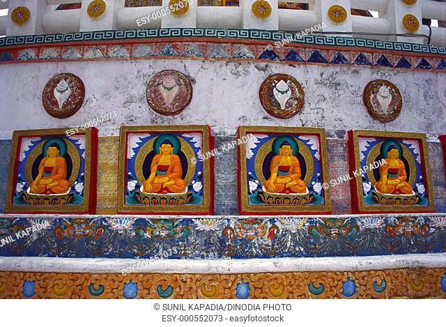 Stands of Buddha carved on Shanti Stupa 12540 Ft built by Nishidatsu Fujii Guruji on Japan in August 83 , Leh , Ladakh , Jammu and Kashmir , India